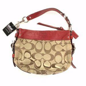 Coach Red Leather Brown Signature Canvas Handbag